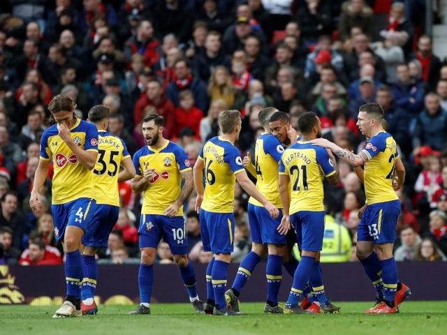 Southampton celebrate Yann Valery's goal against Manchester United in the Premier League on March 2, 2019.