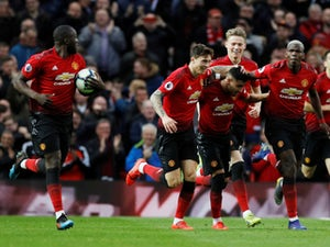 Manchester United celebrate scoring against Southampton in the Premier League on March 2, 2019.