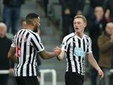 Newcastle United midfielder Sean Longstaff celebrates scoring against Burnley on February 26, 2019