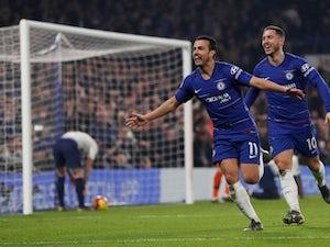 Pedro celebrates scoring for Chelsea against Tottenham Hotspur in their Premier League game on February 27, 2019.