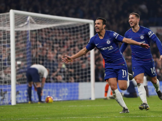 Pedro celebrates scoring for Chelsea against Tottenham Hotspur in their Premier League game on February 27, 2019.