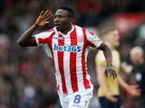 Stoke City's Peter Etebo celebrates scoring their first goal against Nottingham Forest on March 2, 2019