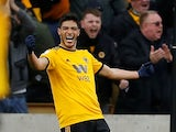 Wolverhampton Wanderers' Raul Jimenez celebrates scoring their second goal against Cardiff City on March 2, 2019