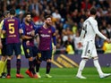 Barcelona's Lionel Messi reacts angrily to a challenge from Sergio Ramos during the Clasico with Real Madrid on March 2, 2019