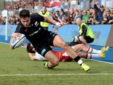 Saracens' Sean Maitland scores their first try against Northampton Saints on March 2, 2019