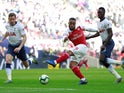 Arsenal striker Alexandre Lacazette misses an early chance in the North London derby with Tottenham Hotspur on March 2, 2019