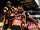 Watford's Andre Gray celebrates scoring the winner against Leicester on March 3, 2019