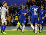 Callum Hudson-Odoi celebrates Chelsea's third goal of the game against Dynamo Kiev on March 7, 2019
