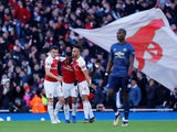 Granit Xhaka celebrates after opening the scoring for Arsenal in their Premier League meeting with Manchester United on March 9, 2019
