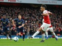 Pierre-Emerick Aubameyang converts from the penalty spot to put Arsenal two goals ahead against Manchester United on March 10, 2019