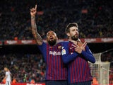 Gerard Pique celebrates his goal for Barcelona against Rayo Vallecano in La Liga on March 9, 2019