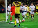 Borussia Dortmund's Julian Weigl reacts to a missed chance against Tottenham Hotspur on March 5, 2019