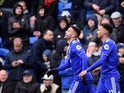 Cardiff City's Victor Camarasa celebrates scoring their second goal with Josh Murphy against West Ham on March 9, 2019