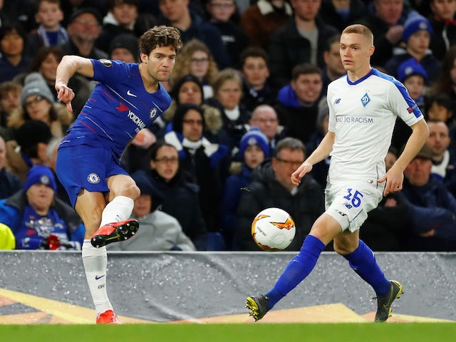 Marcos Alonso and Viktor Tsygankov in action during the Europa League game between Chelsea and Dynamo Kiev on March 7, 2019