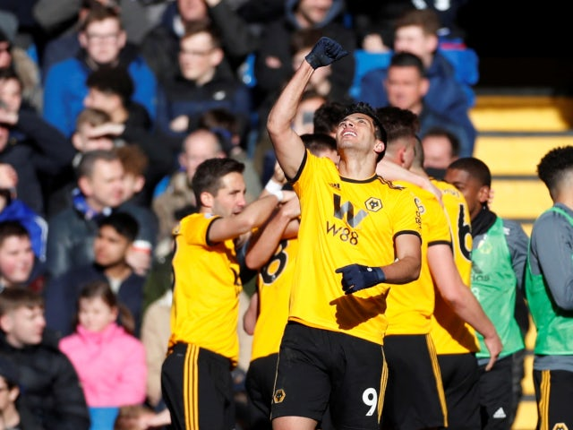 Raul Jimenez celebrates scoring for Wolverhampton Wanderers against Chelsea in the Premier League on March 10, 2019.