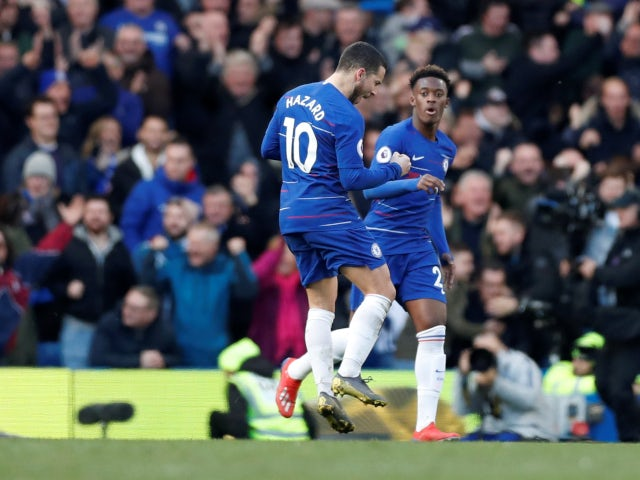 Eden Hazard celebrates scoring for Chelsea against Wolverhampton Wanderers in the Premier League on March 10, 2019.