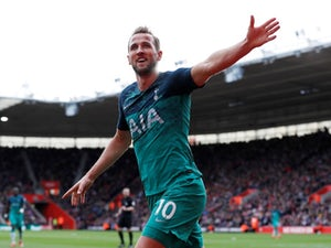 Tottenham Hotspur striker Harry Kane celebrates scoring against Southampton on March 9, 2019
