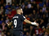 Karim Benzema celebrates scoring for Real Madrid against Real Valladolid in La Liga on March 10, 2019.