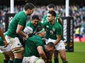 Ireland's Keith Earls celebrates scoring their fourth try with team mates on March 10, 2019