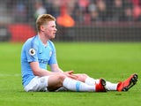 Manchester City's Kevin De Bruyne sits injured on March 2, 2019
