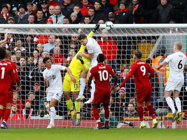 Burnley score direct from a corner in their Premier League match against Liverpool on March 10, 2019.