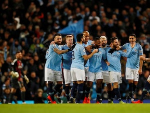Manchester City celebrate a goal from Raheem Sterling against Watford in the Premier League on March 9, 2019.