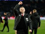 Manchester United manager Ole Gunnar Solskjaer celebrates after beating PSG on March 6, 2019