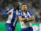 Porto's Alex Telles celebrates scoring the winner against Roma to send his side through to the Champions League quarter-finals on March 6, 2019