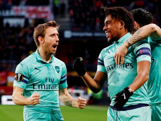 Arsenal celebrate Alex Iwobi's goal against Rennes in the Europa League on March 7, 2019.