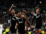 Ajax players celebrate Dusan Tadic's goal against Real Madrid in the Champions League on March 5, 2019