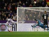 Ruben Alcaraz misses a penalty for Real Valladolid against Real Madrid in La Liga on March 10, 2019.