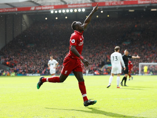 Liverpool's Sadio Mane celebrates scoring against Burnley in the Premier League on March 10, 2019.