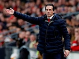 Unai Emery watches his Arsenal side take on Rennes in the Europa League on March 7, 2019