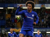 Willian celebrates getting the second for Chelsea against Dynamo Kiev on March 7, 2019
