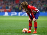 Antoine Griezmann prepares to take a shot for Atletico Madrid on February 20, 2019