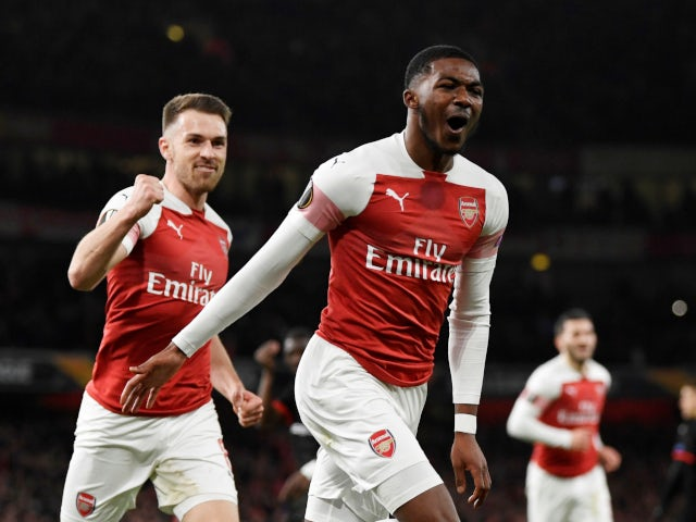 Ainsley Maitland-Niles celebrates scoring Arsenal's second goal against Rennes on March 14, 2019