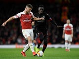 Rennes attacker Ismaila Sarr in action with Arsenal defender Shkodran Mustafi in the Europa League on March 14, 2019