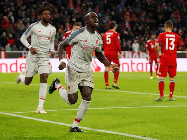 Sadio Mane pictured after scoring his second and Liverpool's third in the victory over Bayern Munich on March 13, 2019