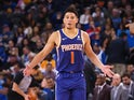 Phoenix Suns guard Devin Booker (1) reacts after a play against the Golden State Warriors during the third quarter at Oracle Arena on March 11, 2019
