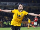 Diogo Jota celebrates after extending Wolverhampton Wanderers' lead against Manchester United on March 16, 2019