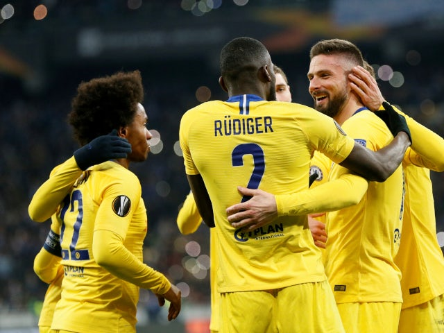Chelsea celebrate their fourth goal against Dynamo Kiev in the Europa League on March 14, 2019.