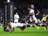 England's George Ford scores a try in their Six Nations thriller with Scotland on March 16, 2019