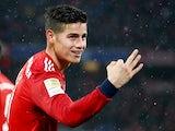 Bayern Munich midfielder James Rodriguez celebrates completing his hat-trick against Mainz on March 17, 2019