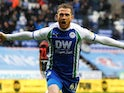 Joe Garner celebrates scoring for Wigan Athletic on March 16, 2019