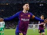 Barcelona's Lionel Messi celebrates completing his hat-trick against Real Betis on March 17, 2019