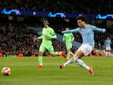 Manchester City winger Leroy Sane scores against Schalke 04 on March 12, 2019