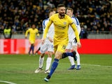 Olivier Giroud celebrates scoring for Chelsea against Dynamo Kiev in the Europa League on March 14, 2019.
