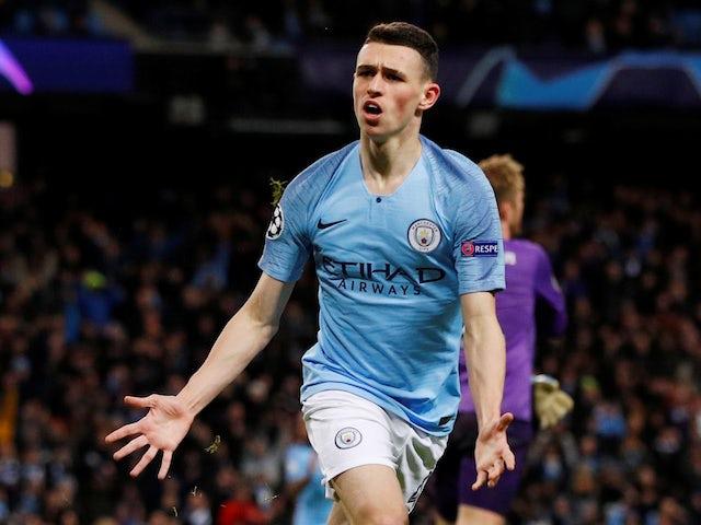 Manchester City midfielder Phil Foden celebrates scoring against Schalke 04 on March 12, 2019