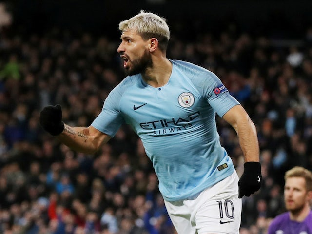 Manchester City striker Sergio Aguero celebrates scoring his second goal against Schalke 04 on March 12, 2019