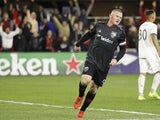 DC United forward Wayne Rooney (9) celebrates after scoring a goal against Real Salt Lake in the first half at Audi Field on March 17, 2019